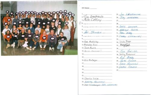 RTC Volunteers 1990s with name list unfinished